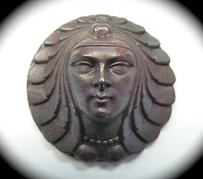 Antique Button ~ Large High Relief Metal Egyptian Revival Ladies Head