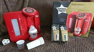 tommee tippee perfect prep machine in special edition red with extra filters