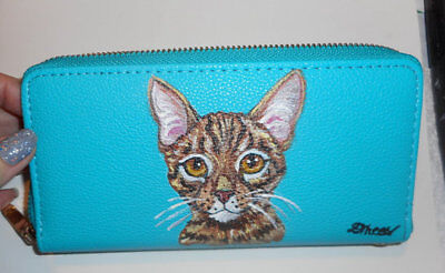 Ocicat Cat Hand Painted Leather Wallet for Women