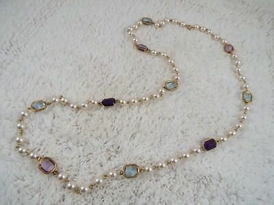Goldtone Chain Purple & Blue Faux Crystal Bezel White Bead Necklace (D13)