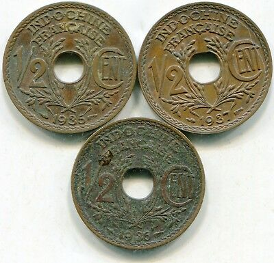 French Indo China 1/2 Centime 1935 + 36 + 37  lotmar3047