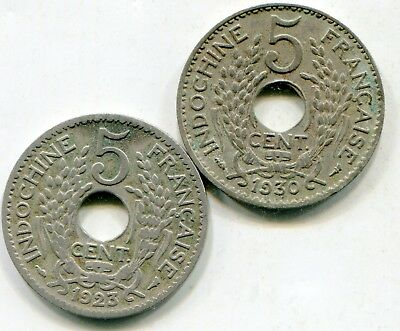 French Indo China 5 Centimes 1923 + 1930  lotmar3040