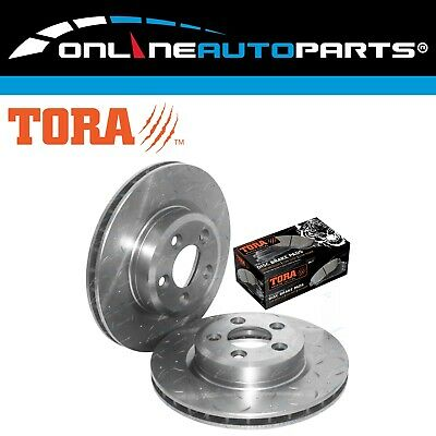 2 New Front Drilled Slotted Disc Rotors + Brake Pads BF FG XR6 Turbo XR8 5.4L V8