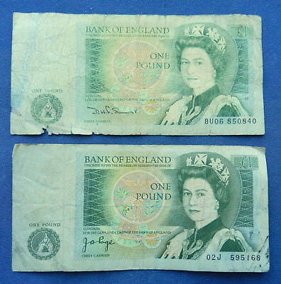 UK Great Britain 1 Pound. QE II. x2 Circulated