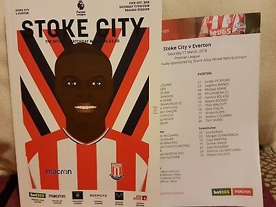Stoke City V Everton  Programme And Official Team Sheet 17/03/18