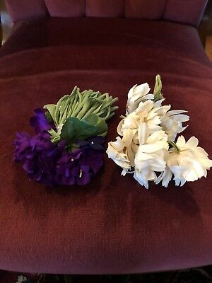 Vintage Millinery (2)Flowers Bouquet White & Purple Bunches Pins