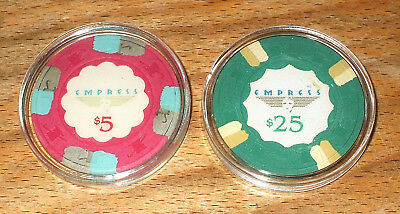 $5. & $25. Paulson Empress Casino Chips - Joliet, Illinois - 2 Chip Sample Set