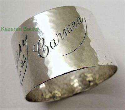 Vintage Solid Sterling Silver Planished Napkin Ring Cherry & Carmen By J Round