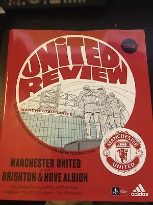 Manchester United V Brighton HA FA Cup Quarter final Matchday Programme 17/03/18