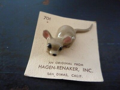 "Vintage Hagen-Renaker Miniature Ceramic Mouse Figurine on 2"" Square Paper Label"