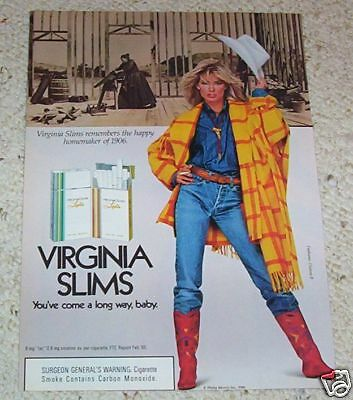 1986 ad page - Virginia Slims cigarettes-sexy girl cowgirl hat smoking PRINT AD