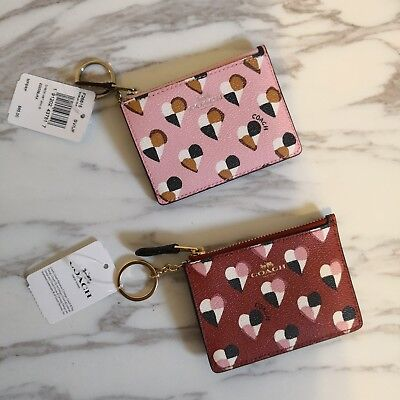 New Coach Mini Skinny Id Case With Checker Heart Print F22615 $65