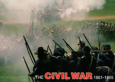 Union & Confederate Soldiers in Battle, Civil War Military US History - Postcard