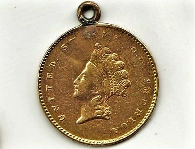 "Rare Type 2(1854-1856) US Solid Gold $1 One Dollar LOVE TOKEN ""DC""(CD?) Pendant"