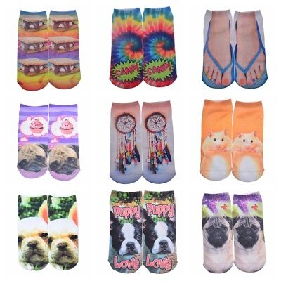3D Printed Animal Casual Men Women Cotton Low Cut Ankle Cotton Socks Cheapest
