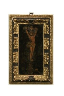 Frame Curve Wooden Paint And Golden, Period Xvii Century / Frame Antique