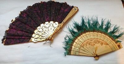 2 plastic hand painted vintage fan bases with feather and silk for restoration