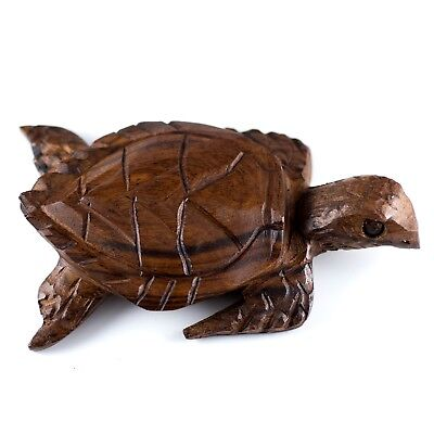 "Hand Carved Wood Wooden Ironwood Sea Turtle Figurine 5"" Long"