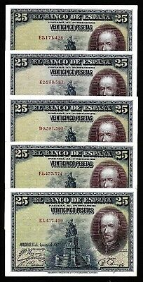 5 Pcs of 25 Pesetas From Spain 1943  MM3