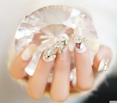 E123 Japanese Style Simple Bling Bling Non Glue Drill Nail Tips Fake Nails A