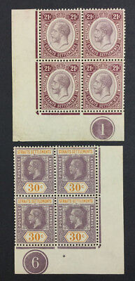 Momen: Straits Settlements Sg#204,207 1913-14 Mint Og Nh £94++ Lot #3977
