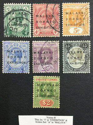 Momen: Straits Settlements Sg#241-6,8 ** Var B ** Mult Cr Ca Used £793 Lot #3925