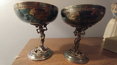 Vintage Pair Figural Silverplate Goblets Satyrs Maidens Nymphs Harvesting Grapes