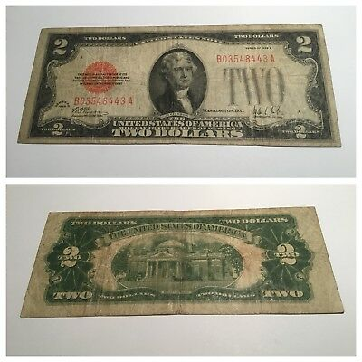 Vintage Rare $2 1928-B United States Note Two Dollar Legal Tender Red Jefferson