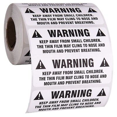 "Suffocation Warning Stickers for Shipping and Packing - 3"" X 1"", Provided 500"