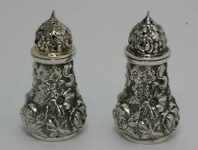 Repousse Sterling Silver Shakers by Stieff 1940 Date Mark