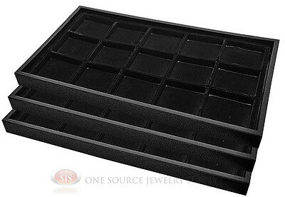 (3) Black Plastic Stackable Trays w/15 Compartment Black Jewelry Display Inserts