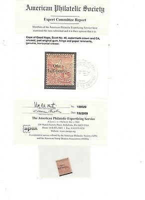 Cape Of Good Hope, Scott# 40, Mint, Og W/aps Certification