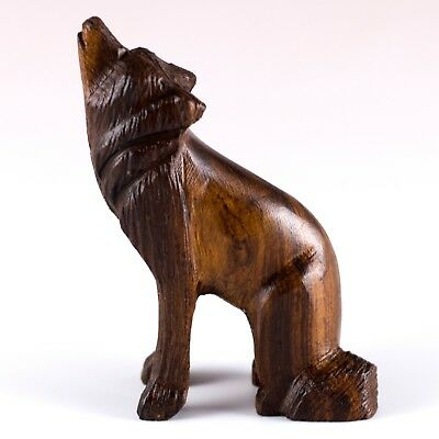 "Hand Carved Wood Wooden Ironwood Sitting Wolf Howling Figurine 2.75"" High"