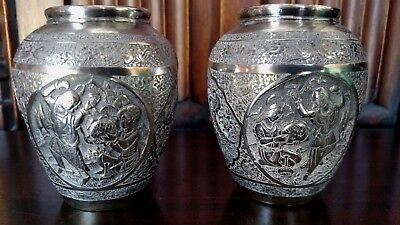 Beautiful Pair Of Antique Persian   Silver Vases Signed