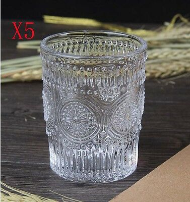 New 5X Capacity 300ML Height 100MM Embossed Transparent Wine Glass/Glassware %