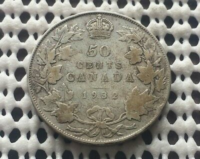 1932 ❀ Low Mintage ❀ Silver Half Dollar Canada 50 Cent King George V Key Coin