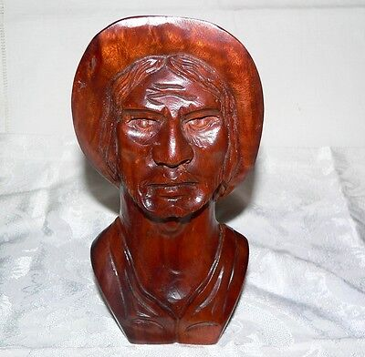 Carved Ironwood Cowboy Bust-Perfect-Made To Hang on Wall or Stand-Really Nice