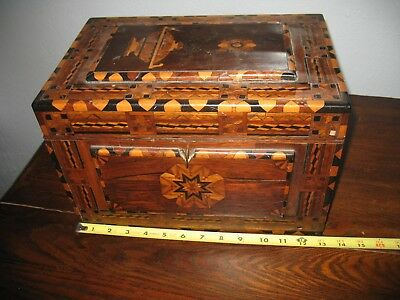 Vtg Antique Rare Find Victorian Inland Wooden Jewelry Box, A Must See Design