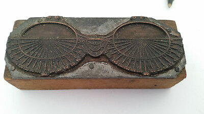 Old Copper-Steel-Wood Newspaper Print Block of Glasses
