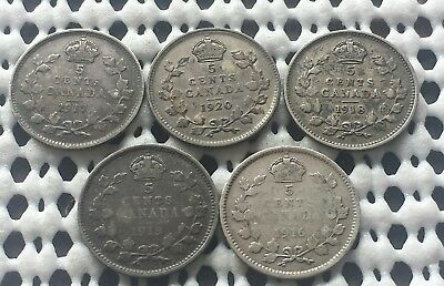 1900's ❀ 5 Coin Lot ❀ Canada Silver 5 Cents King George V Coins Lot #4 of 5
