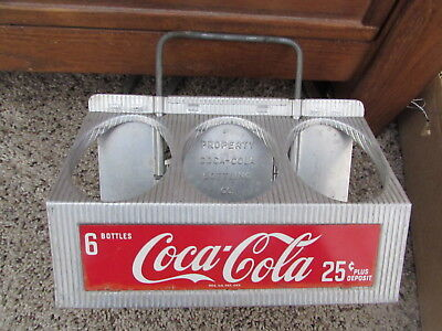 1950's Aluminum 6 Pack Coca-Cola Bottle Caddy Carrier Holder Good Used Condition