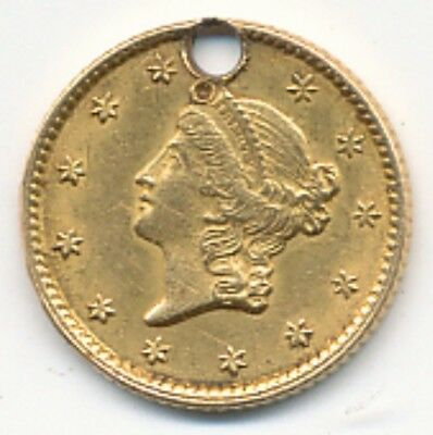 1853 $1 Liberty Head Gold - Hole - Exact Coin Shown - Free Shipping