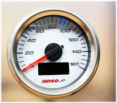 Koso D48 GP Style Tachometer max 160 kmh mph ODO Trip weiss externer Knop