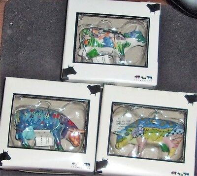 3 New in Boxes Cow Parade Mini Cows