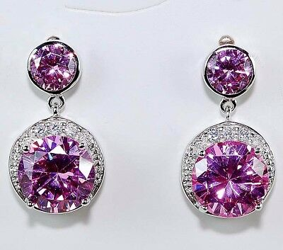 3CT Pink Sapphire & White Topaz 925 Solid Sterling Silver Earrings Jewelry