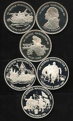 6 Coin George Washington Silver Proof Collection Lesotho/Antigua & Barbuda