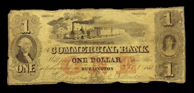 1858 Commercial Bank of Burlington, Vermont $1 Note -VG- Haxby VT-50 G2c