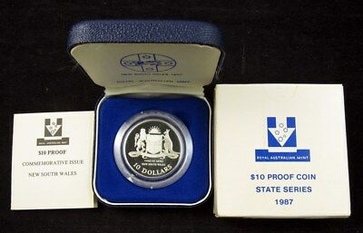 """1987 """"State Series"""" New South Wales $10 Silver Proof Coin - RAM OGP"""