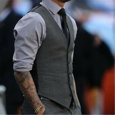 c6016b307b Fashion Men s Formal Business Casual Dress Vest Suit Slim Tuxedo Waistcoat  Coat