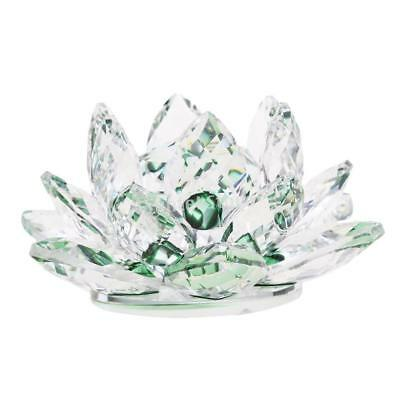 """4"""" Crystal Glass Lotus Flower with Gift Box Feng Shui Ornament Decor Green"""
